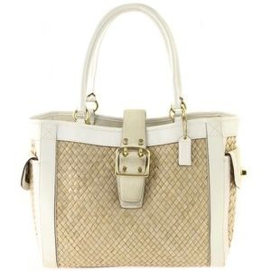 Coach | White Leather Suede Woven Straw Tote Bag
